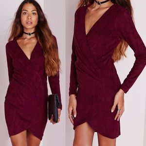 Missguided Burgundy Faux Suede Wrap Dress